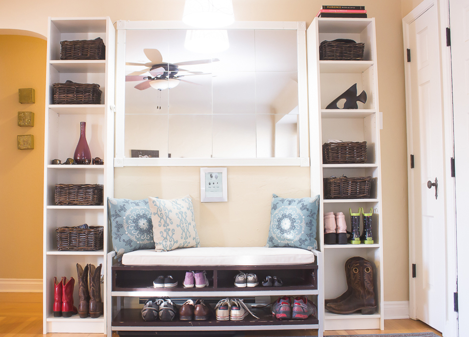 How to Create a Mudroom with $39 Bookcases